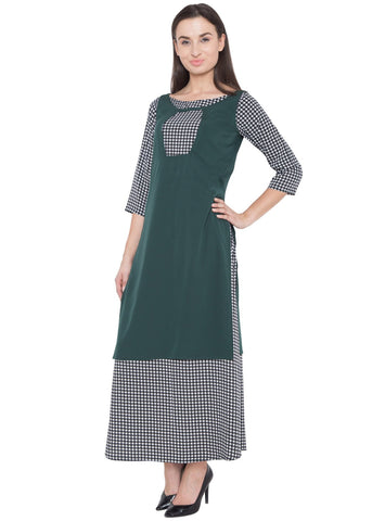 Green and Black Color Crepe ReadyMade Dress  - SC-KRT-1736