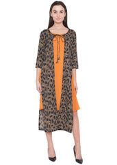 Olive Mix Ocher Color Crepe ReadyMade Dress