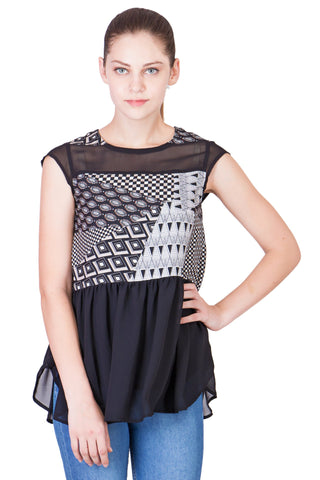 Black Color Crepe Georgette ReadyMade  Top - SC-TP-10