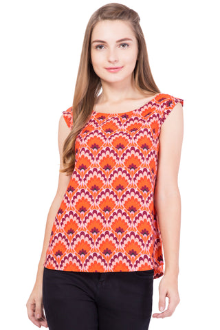Orange Color Crepe ReadyMade  Top - SC-TP-1715