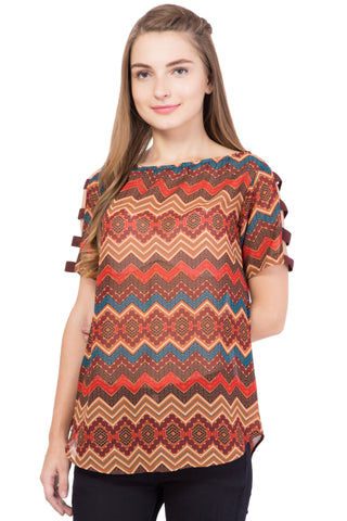 Brown Color Georgette ReadyMade  Top - SC-TP-1716