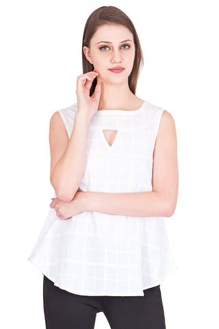White Color Cotton ReadyMade  Top - SC-TP-41