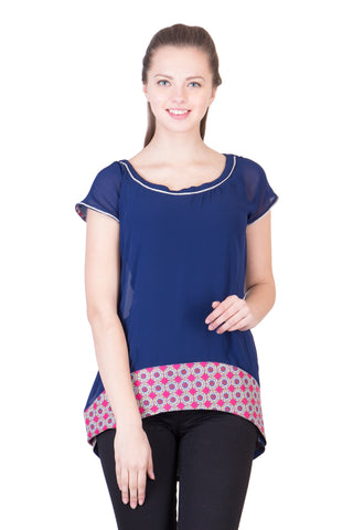 Multi Color Rayon Crepe ReadyMade  Top - SC-TP17
