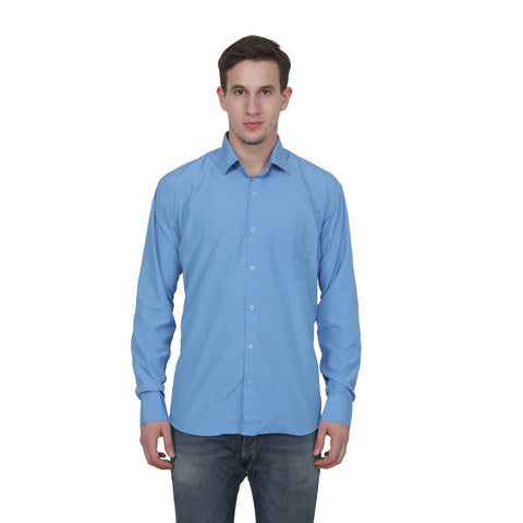 School Blue Color Cotton Blend Slim Fit Shirts - SC.blue