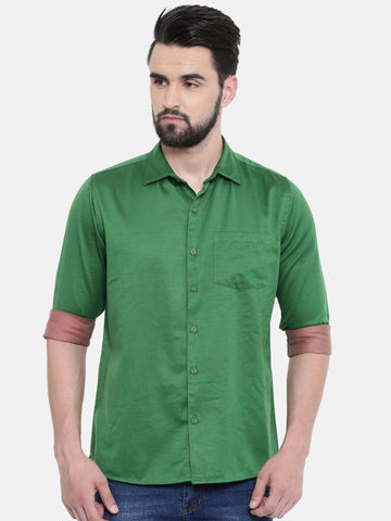 Green Color Cotton Linen Men's Solid Shirt - SC443A