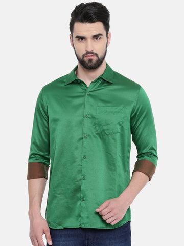 Green Color Cotton Linen Men's Solid Shirt - SC443B
