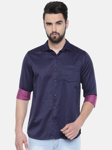 Violet Color Cotton Linen Men's Solid Shirt - SC444B