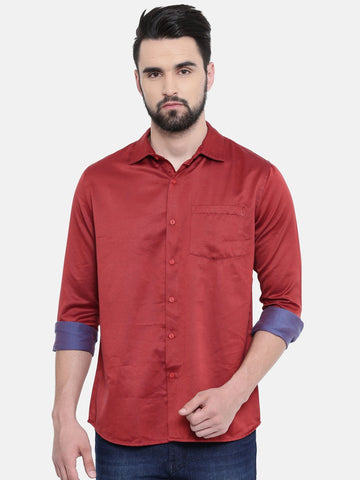 Red Color Cotton Linen Men's Solid Shirt - SC445A
