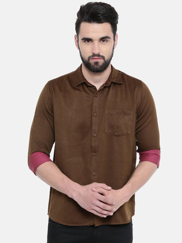 Brown Color Cotton Linen Men's Solid Shirt - SC445B