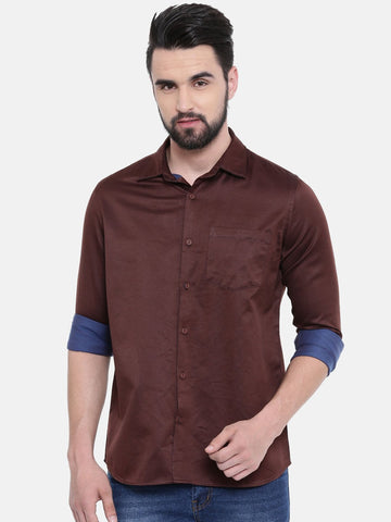 Dark Brown Color Cotton Linen Men's Solid Shirt - SC445C
