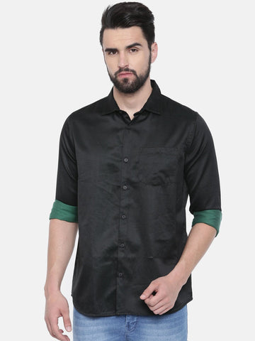 Black Color Cotton Linen Men's Solid Shirt - SC446A