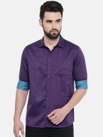 Purple Color Cotton Linen Men's Solid Shirt - SC446C