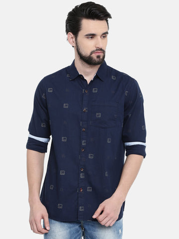 Navy Blue Color Cotton Linen Men's Printed Shirt - SC459A