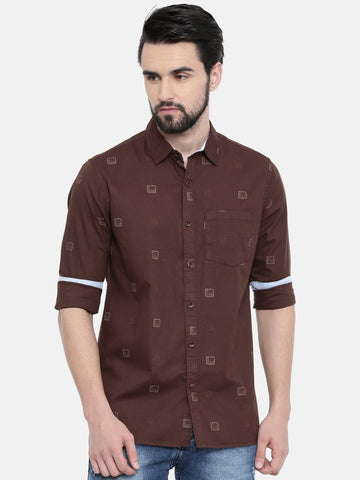 Brown Color Cotton Linen Men's Printed Shirt - SC459B