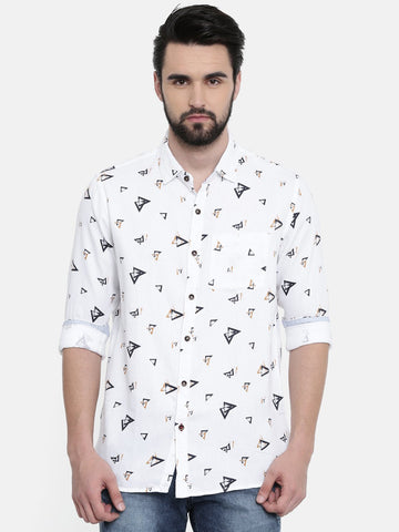 White Color Cotton Linen Men's Printed Shirt - SC461B