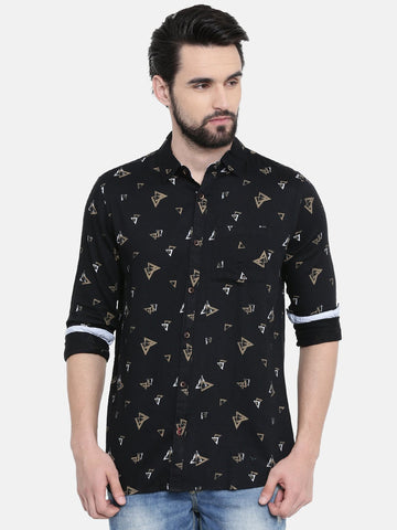 Black Color Cotton Linen Men's Printed Shirt - SC461C