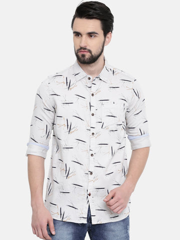 Beige Color Cotton Linen Men's Printed Shirt - SC462B