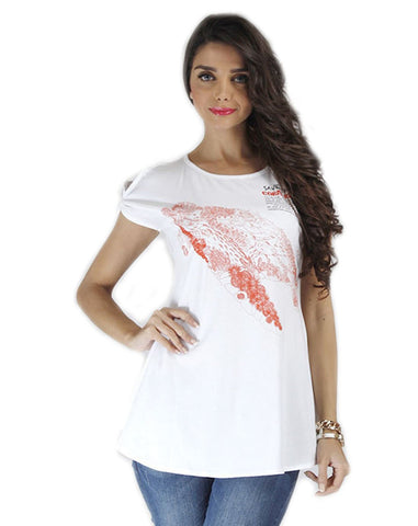 White Color Organic Cotton Women Top - SCR-CoralWhite