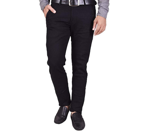 Black Color Sanke Dobby Men's Plain Trouser - SD1
