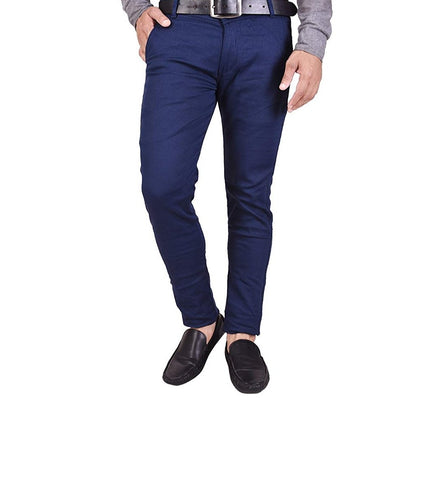 Navy blue Color Sanke Dobby Men's Plain Trouser - SD2