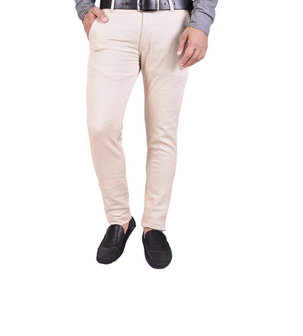 Cream Color Sanke Dobby Men's Plain Trouser - SD3