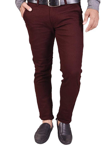 Burgandy Color Heavy Dobby Men's Plain Trouser - SD5