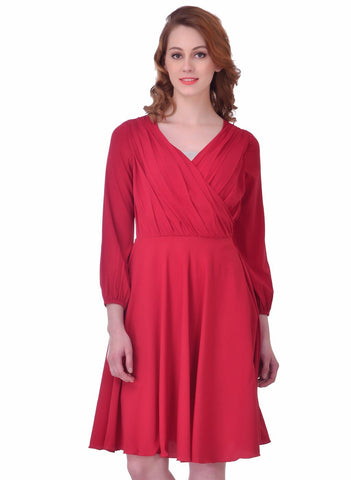 Marsala Color Crepe ReadyMade Dress - SDRF0714