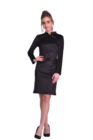 Black Color Velvet ReadyMade Dress - SDRF0782