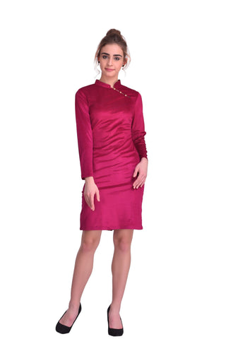Wine Color Velvet ReadyMade Dress - SDRF0783