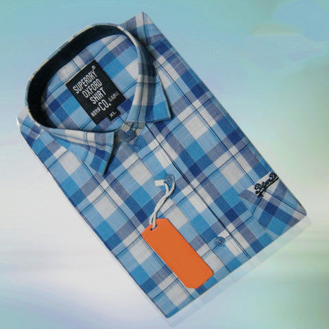Blue and White Color Pure Linen Men Shirt - SDS-1