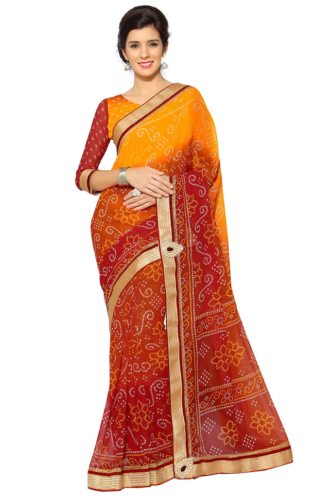 Orange Color Faux Georgette Saree