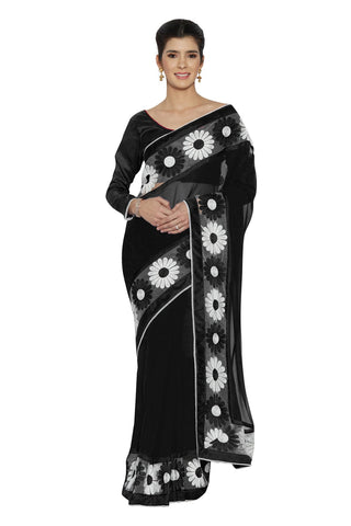Black Color Faux Georgette Saree - SF-3036