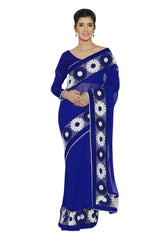 Blue Color Faux Georgette Saree