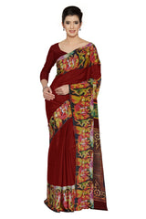 Red Color Faux Crepe Saree