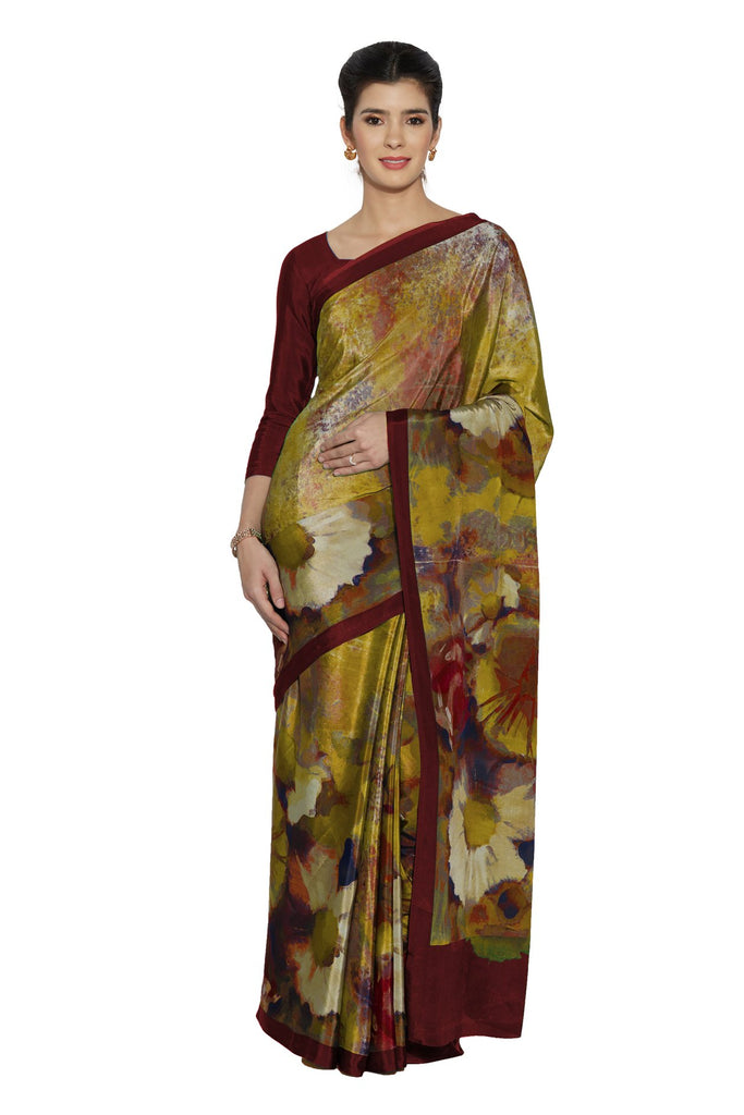 Yellow Color Faux Crepe Saree