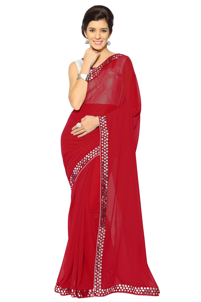 Red Color Faux Georgette Saree