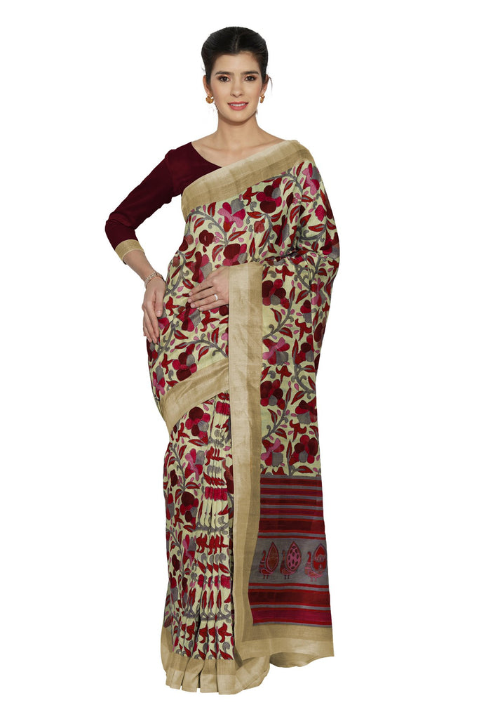 Beige Color Bhagalpuri Saree