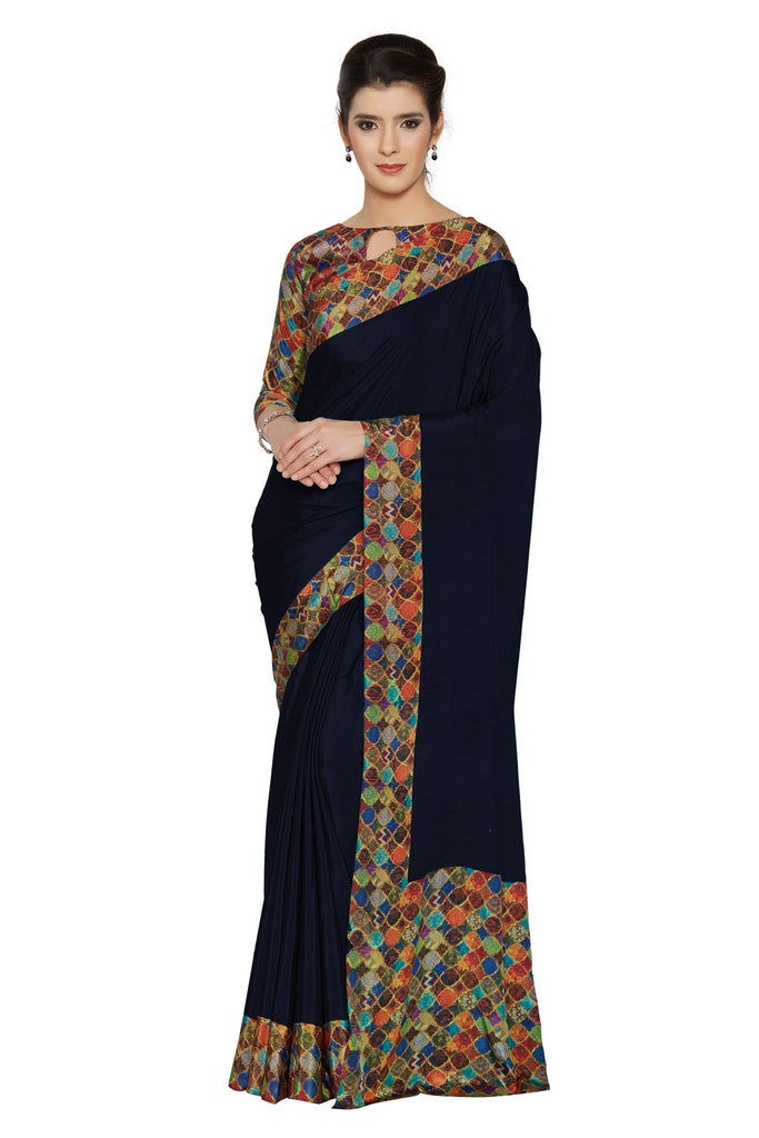 Navy Color Crepe Saree