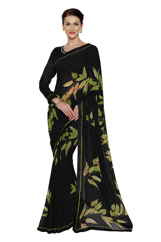 Black Color Faux Georgette Saree - SF-3169