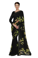 Black Color Faux Georgette Saree