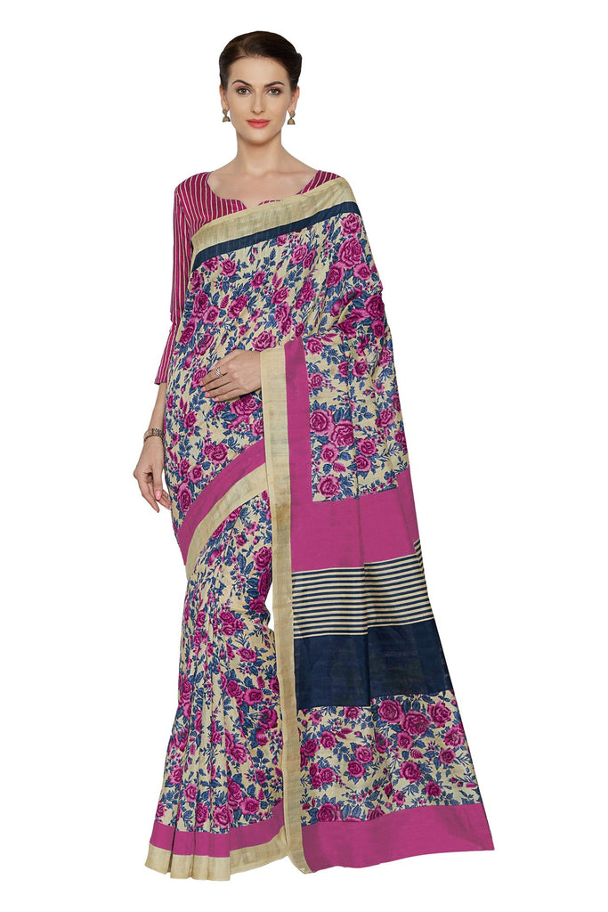 Pink Color Bhagalpuri Saree