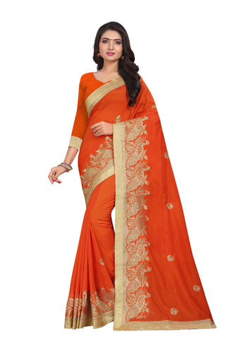 Orange Color Vichitra Silk Saree - SF-D.NO.-12