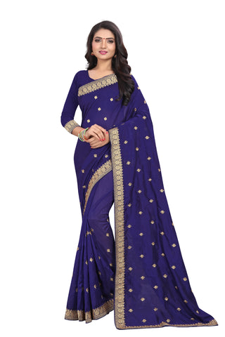 Navy Blue Color Vichitra Silk Saree - SF-D.NO.-1