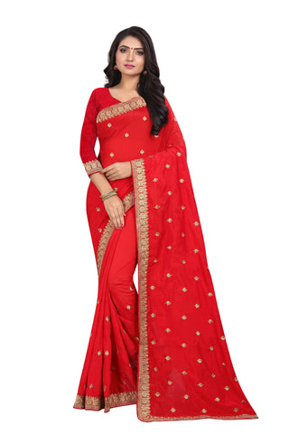 Red Color Vichitra Silk Saree - SF-D.NO.-2
