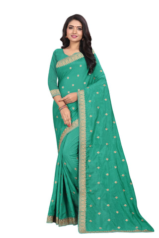 Rama Firoji Color Vichitra Silk Saree - SF-D.NO.-5