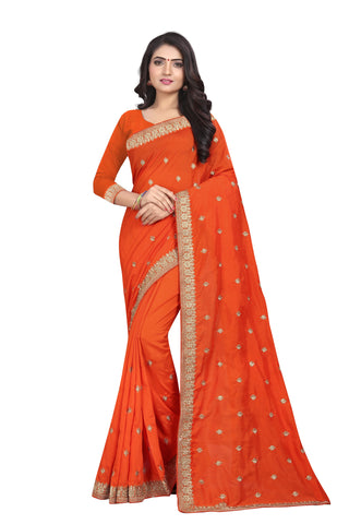 Orange Color Vichitra Silk Saree - SF-D.NO.-6