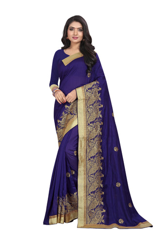 Navy Blue Color Vichitra Silk Saree - SF-D.NO.-7