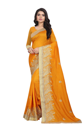 Mustard Color Vichitra Silk Saree - SF-D.NO.-9