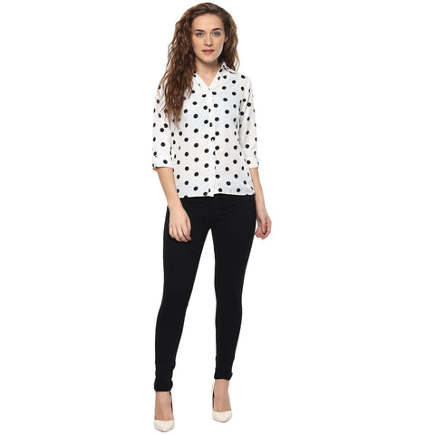 White Color Polyster Women Shirt - SFSHRT202A