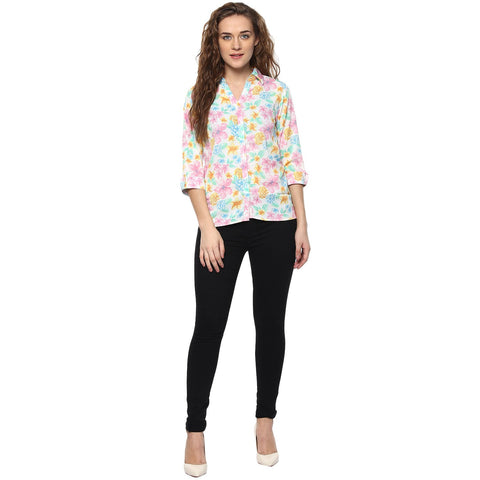 Multi Color Polyster Women Shirt - SFSHRT203A